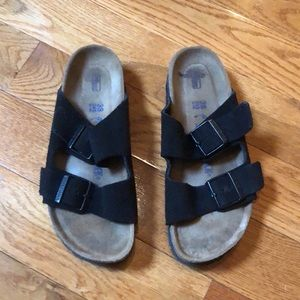 Birkenstock Arizona black suede sandals size 38